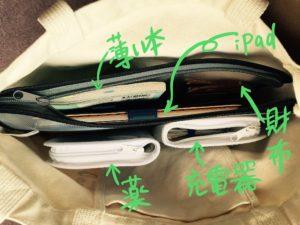 セリアのファスナーケースでバッグの中を整理